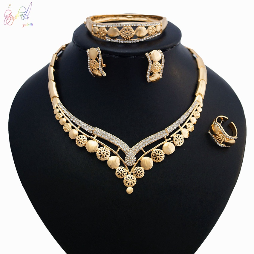 YULAILI African Beads Jewelry Sets for Women Statement Dress Necklace Earrings Bracelet Ring Wedding Accessories viennois new blue crystal fashion rhinestone pendant earrings ring bracelet and long necklace sets for women jewelry sets