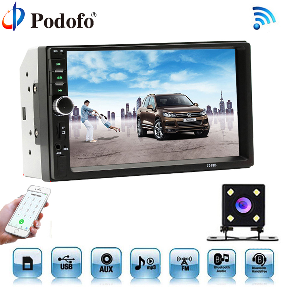 Podofo Car Radio Autoradio 7 LCD Touch Screen Multimedia Player Audio Stereo Bluetooth Car Audio Support Rear View Camera 7018B 7 inch touch screen 2 din car multimedia radio bluetooth mp4 mp5 video usb sd mp3 auto player autoradio with rear view camera