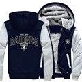 Precio al por mayor de Moda Pie Bola Equipo de Oakland Raiders Otoño Invierno de Los Hombres Con Capucha Cremallera Chaqueta Casual Sudaderas Sportwear
