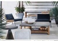 Пакет 2x для шезлонга кресло с подушками + Османов + квадратный для кофе стол с 80x90 см Мрамор Топ