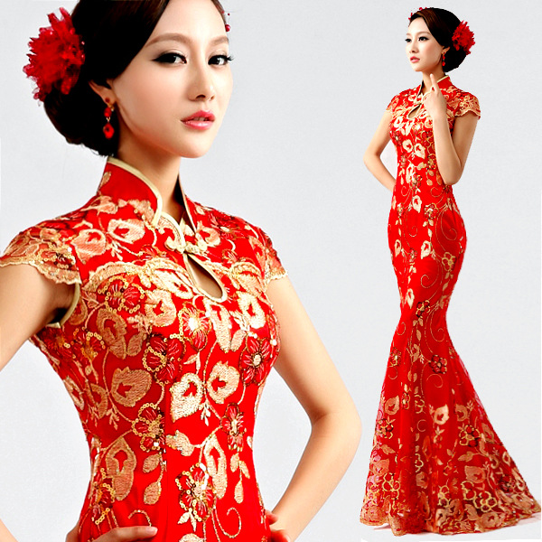 311f6f220 modern chinese traditional dress long cheongsam red xxxl phoenix plus size  cheongsam wedding dress fishtail red lace in sequin
