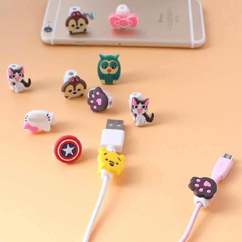 Cartoon kabel Protector linia danych przewód Protector etui ochronne kabel Winder pokrywa dla iPhone kabel USB do ładowania
