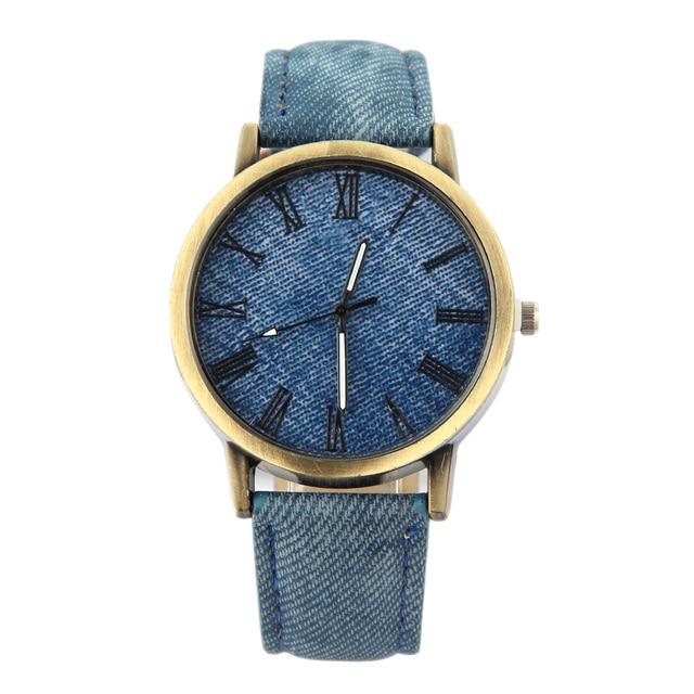 ac268bdeb96e 2018 NEW Women Men Lovers Wristwatch Jean Fabric Band Clock Sports Watch  Analog Quartz Watch