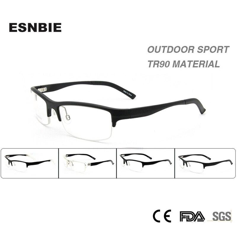 845c7cf024 ESNBIE New Plain Glasses Frame Man TR90 Half Frame Clear Lens Fashion Glasses  Men Prescription Spectacles