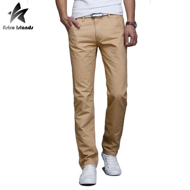 2016 Осень Случайные Мужские Брюки Хлопок Брюки Мужская Мода Slim Fit Длинные Штаны Homme Сплошной Цвет Марка Одежды LW183
