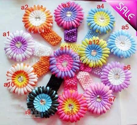 300 шт двухцветные маргаритки гербер с повязка на голову для малышей банты заколки для волос для девочек цветы цветок