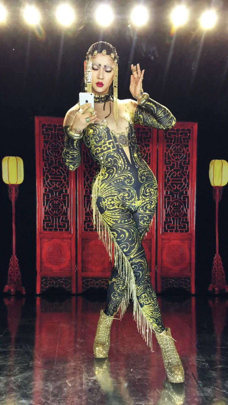 Glisten Crystals Printed Jumpsuit Sexy tassel Leggings Costume Dance Performance Wear Nightclub Female Singer Stage Show Clothes-in Chinese Folk Dance from Novelty & Special Use    2