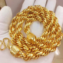 103g,24inch Heavy Huge Mens Necklace Yellow Gold Filled Rock Hip hop Massive Chunky Lucky Rope Chain(China)