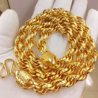 103g,24inch Heavy Huge Mens Necklace Yellow Gold Filled Rock Hip hop Massive Chunky Lucky Rope Chain