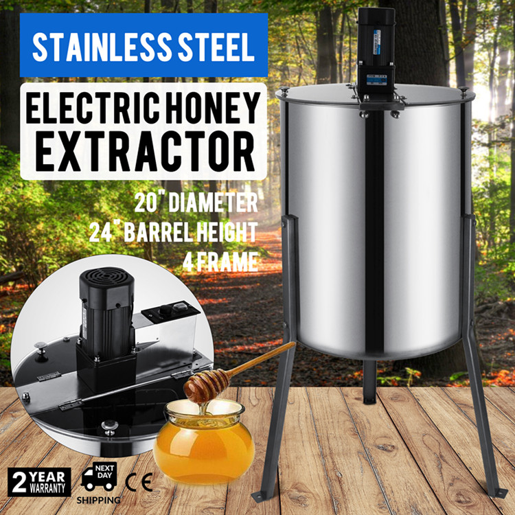 Free Shipping Electric Large Four 4 Frame Electric Honey Extractor Food Grade Stainless Steel AC110V 60HZ Or AC220V 50HZ