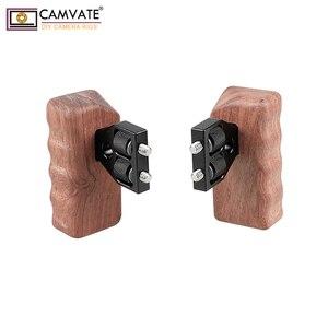Image 4 - CAMVATE DSLR כפולה מעץ ידית אחיזה עם מחבר עבור DV וידאו מצלמה כלוב עוזר צלם מייצב אביזרי C1346