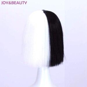 Image 3 - JOY & BEAUTY Peluca de pelo liso corto, mezcla de pelo negro, blanco, dorado, fibra de alta temperatura, disfraz de Sia, 35cm de largo