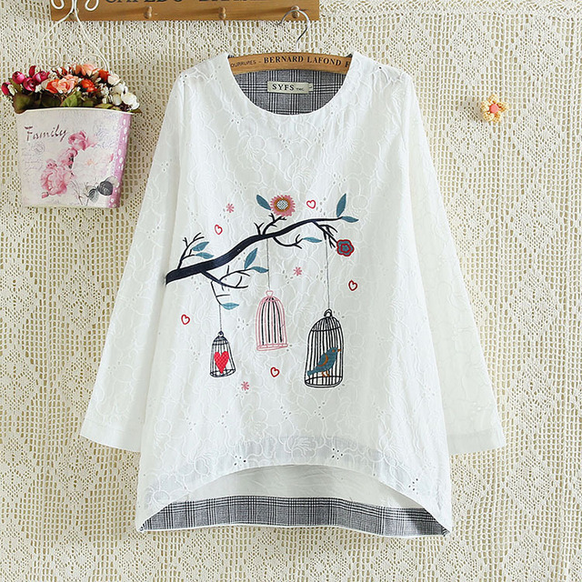 spring autumn Casual Women t-shirts Plus Size 4XL Woman Clothes Long Sleeve cotton Tops birdcage embroidery pattern Shirt