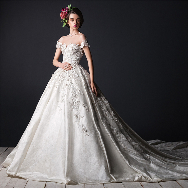 Royal Vintage Backless Crystals Beaded Flower Lace Silk Satin Bride ...