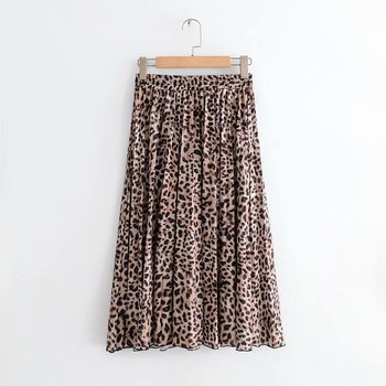 2018 New Women Vintage leopard printing pleated midi skirt faldas mujer ladies elastic waist sashes chic mid-calf skirts QUN119 1