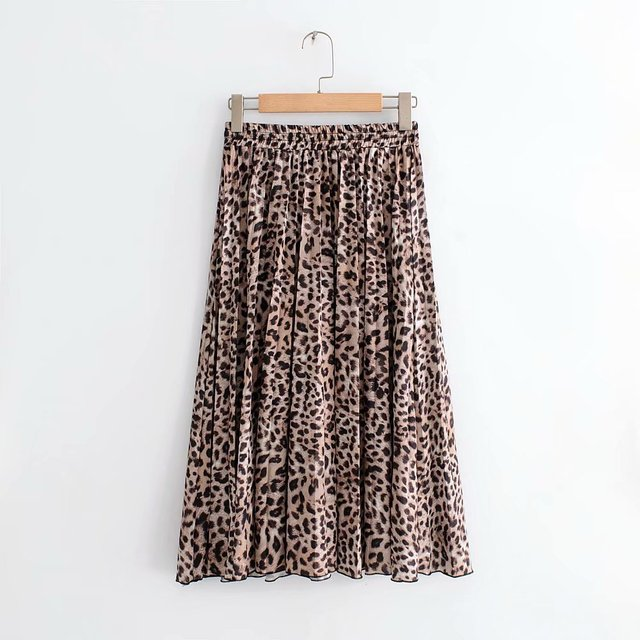 2018 New Women Vintage leopard printing pleated midi skirt faldas mujer ladies elastic waist sashes chic mid-calf skirts QUN119 2