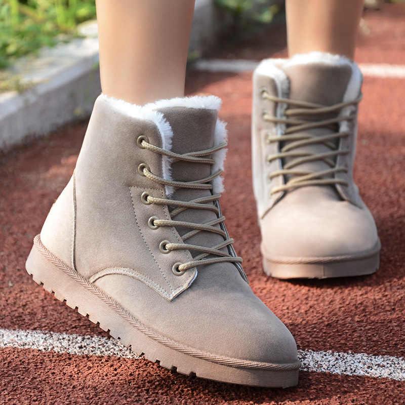 Yeni kış çizmeler kadınlar için yarım çizmeler kadın kar ayakkabıları bayanlar Lace Up süet üst sıcak peluş astarı Botas Mujer artı