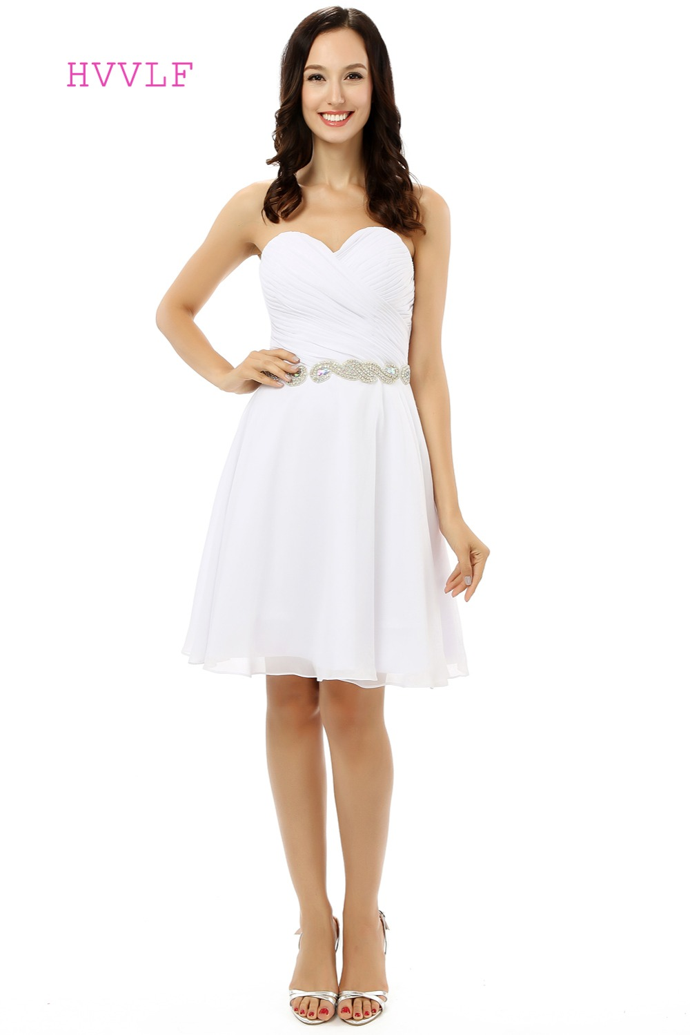 White 2019 Cheap   Bridesmaid     Dresses   Under 50 A-line Sweetheart Short Mini Chiffon Sash Wedding Party   Dresses