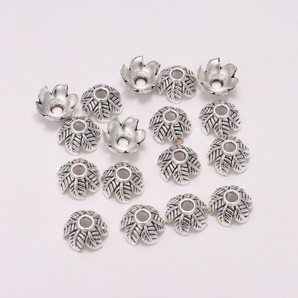 20pcs/Lot 10mm 6 Petals Antique Silver Leaf Flower Loose Sparer End Bead Cap For DIY Jewelry Making Finding Earrings Accessories