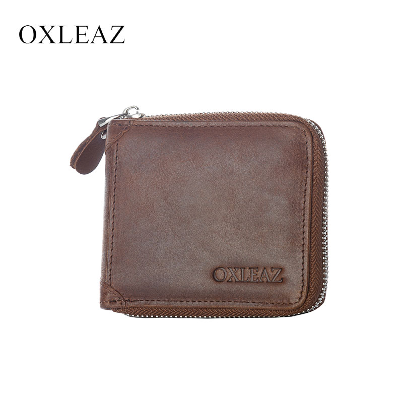 OXLEAZ Men Genuine Leather Women Small Wallet Vintage Square Coin Purses High Quality Female Credit Card Holder Zipper Wallets