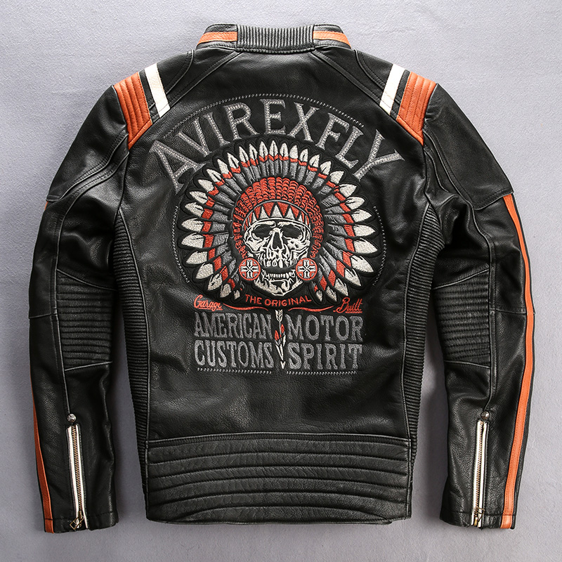 Veste Avec Hommes Cowskin L'arrivée Cuir Vintage Nouveaux Moto 2016 Biker En De Fly Avirex Noir Xxxl Crânes Véritable Pour wzaqfwvx