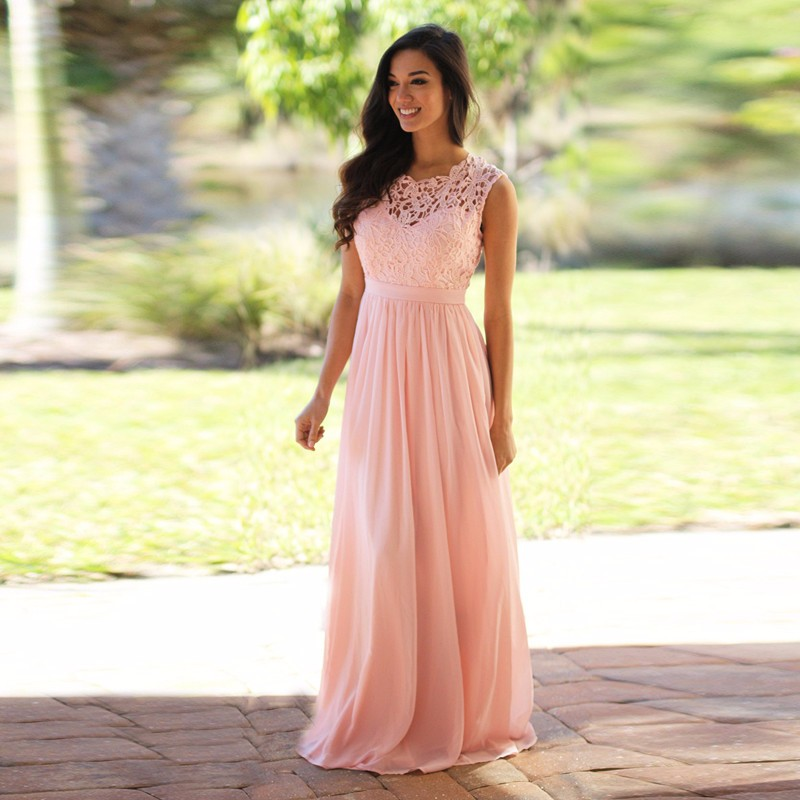 M414 Vintage PinkA-Line   Bridesmaid     Dress   Long 2018 O Neck Sheer Lace Tank Design vestido de festa Zipper Back Hot Sale