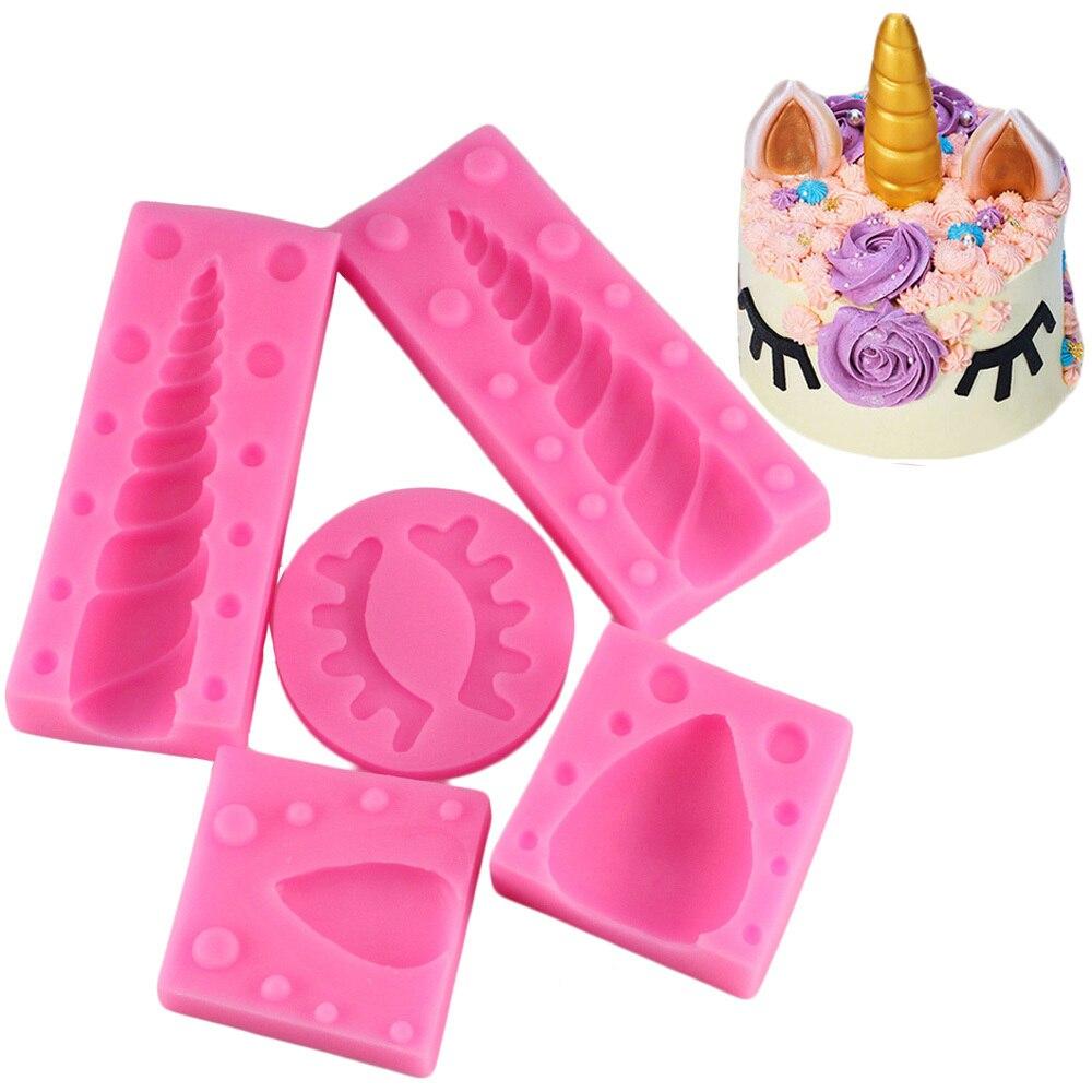 5 Pcs/Set Unicornio Ear Eye Silicone Molds Baby Birthday Cake Decorating Fondant Mold 3D Unicorn Candy Chocolate Gumpaste Moulds