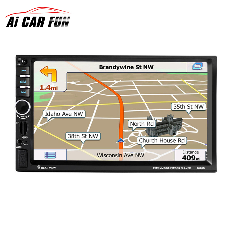 7020G 7'' 2 Din Touch Screen Car Radio DVD MP5 Player Bluetooth GPS Navigation Support Steering Wheel Function Remote Control 7 touch screen 7021g car bluetooth mp3 mp4 mp5 player gps navigation support tf usb aux fm radio rearview camera steering wheel