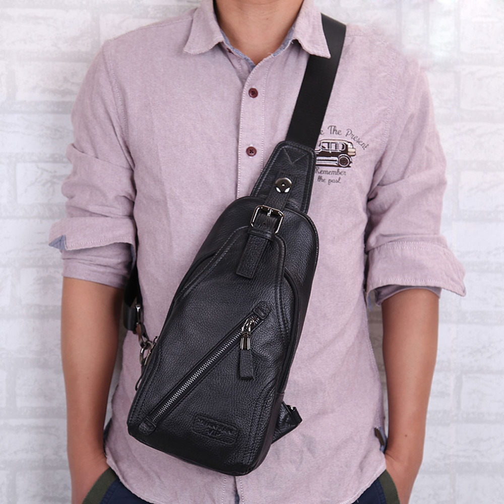 Men High Quality Genuine Leather Cowhide fashion Chest Pack Sling Back Pack Riding Cross Body Messenger Single Shoulder Bag hot sale men pu leather shoulder cross body bag rucksack high quality messenger bags fashion casual male single chest back pack