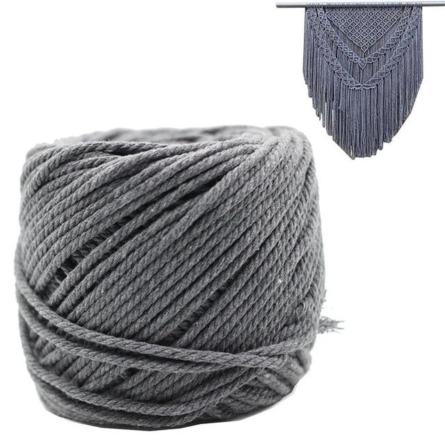 0e9ca8f4da75 € 13.31 11% de DESCUENTO|Macrame cordón gris 4mm X 100 m algodón virgen  decoraciones hechas a mano Macrame planta suspensión ganchillo Bohemia ...