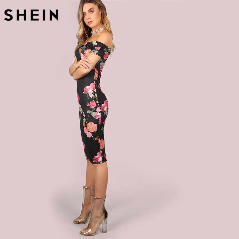 fb49bfb25fe ... SHEIN Sexy Party Dresses Bodycon Off Shoulder Dress Black Bardot  Neckline Floral Bodycon Knee Length Elegant ...
