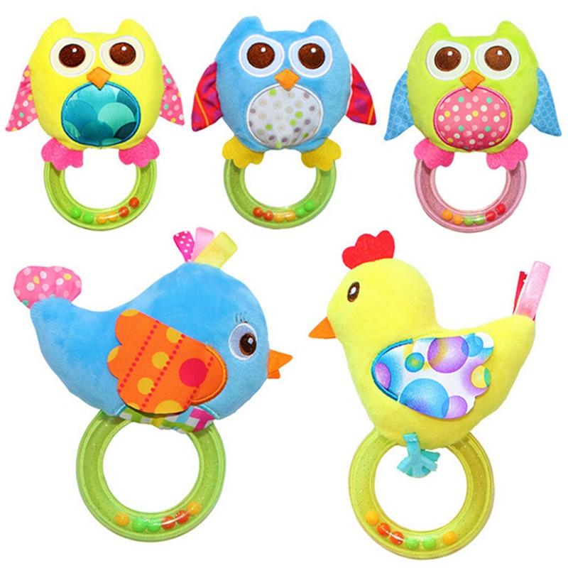 Hot Sale 0-3 Year Baby Rattle hand Bell Toy Owl Bird Chicken Animals Plush Happy Monkey Gift 4 Styles 1Pcs