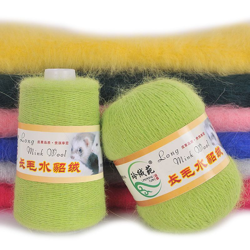 50g Soft Mink Wool Yarn Hand-knitted Luxury Long-wool Cashmere Crochet Knitted Yarn For Autumn
