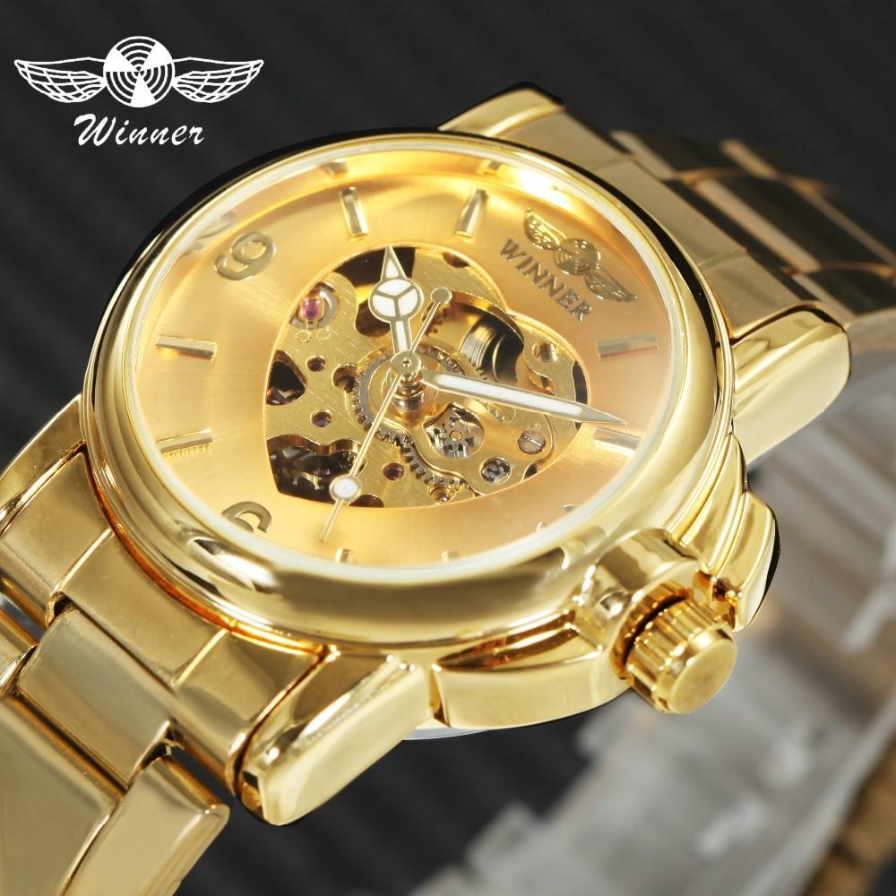 Ganador elegante mujer relojes Top marca de lujo de oro de acero inoxidable correa del esqueleto mecánico Auto relojes de pulsera