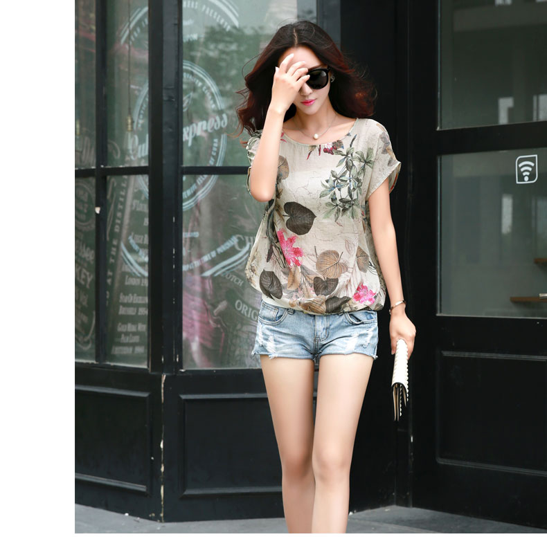 HTB14ZfSLVXXXXX8aXXXq6xXFXXX9 - Floral Print Blouse Cotton Linen Women Shirts Summer Ladies Tops