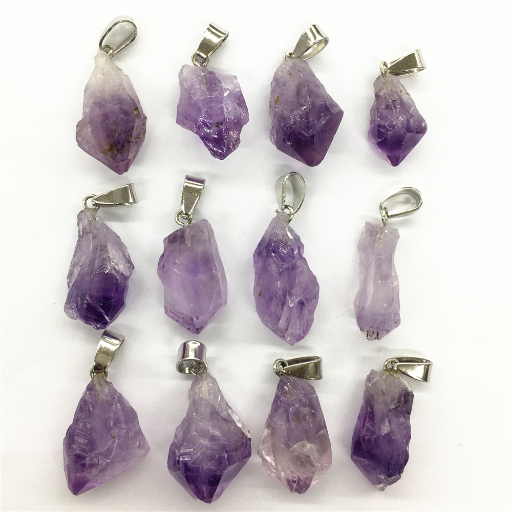 Gazelle New Hot New Fashion Natural Stone <font><b>Pendant</b></font> & Necklace <font><b>Raw</b></font> Ore Amethysts Purple <font><b>Crystal</b></font> Stone <font><b>Pendants</b></font> 6pcs Wholesale Lot image