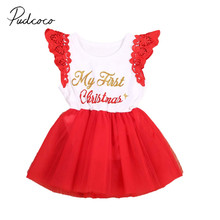 2017 Brand New Infant Toddler Newborn Kid Baby Girl Christmas Dress Clothes XMAS Santa Claus Party Tulle Dress Sleeveless Outfit
