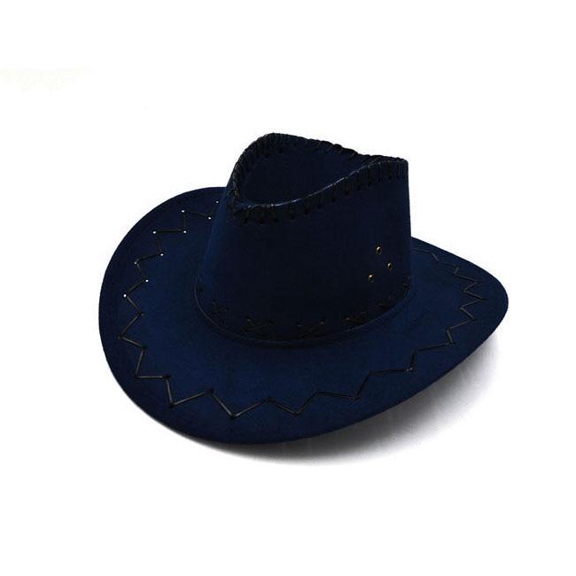 100pcs/lot Wide Brim Cowboy Hat Suede Look Wild West Fancy Dress Men Girls Solid Colors Gorros Cap Women's Hats Chapeau Femme 12