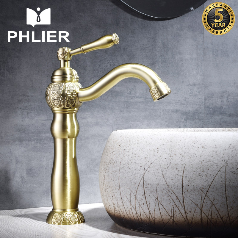 PHLIER Gold Basin Faucet Single Handle Bathroom Faucet Cold and Hot Basin Mixer Taps Vessel Water Tap Sink Brass Chinese Faucet winner men s wrist watch top brand luxury men military sport clock automatic mechanical watches male skeleton sport clock 123