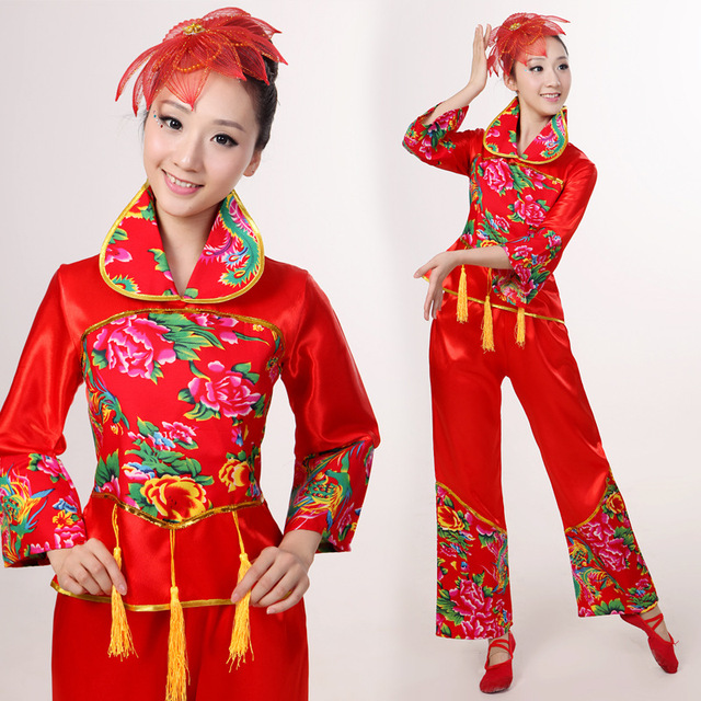 Wholesale Chinese Tradition Clothing Women Red National Costume Clothing  Drum Yangko Fan Dance Chorus Costumes 527 42e147851