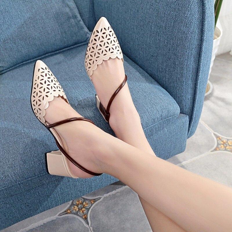 Lisse Peu Élégante Chaussures Boucle Sandales Couvrent Femmes Mode Profonde Orteil Solide Sandalias Casual D'été marron Sangle Respirant Beige rR4qrB