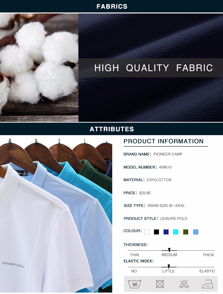 Men Polo Shirt Men Business Casual Solid Male Polo Shirt Short Sleeve High Quality Pure Cotton 14