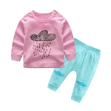 2Pcs Toddler Baby Girls Boys Cloud And Rain Tops+Pants Clothes Set Outfit Clothes Autumn Casual Daily Clothing Sets For Baby