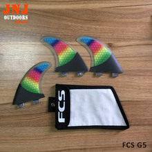 Brand new Colorful ladies surfboard fin FCS G5 surfing fin strongest carbon FCS M fin with bag
