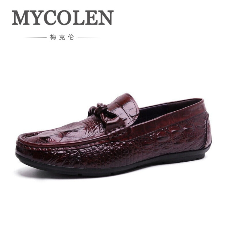 MYCOLEN Brand Autumn Leather Casual Shoes Comfort Slip-On Mocassins Men's Breathable Loafers Shoes Shoes Wine Red/Black new 2017 men s genuine leather casual shoes korean fashion style breathable male shoes men spring autumn slip on low top loafers