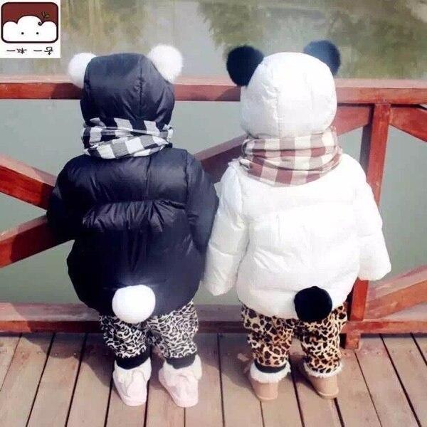 Зима meisjes kleding Зимой Дети Панда Перо Ватник Толстые Куртки Костюмы Хлебных детская куртки куртка bebe pluma