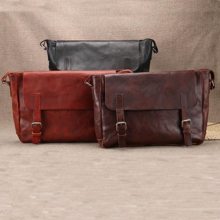 Cow leather handmade Wax Oil Vintage mens genuine Cowhide messenger Shoulder male business office bag Lawyer Briefcase