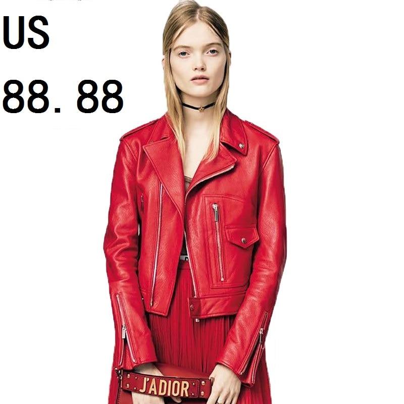 Free Shipping Fashion 100 Genuine Leather Women Slim