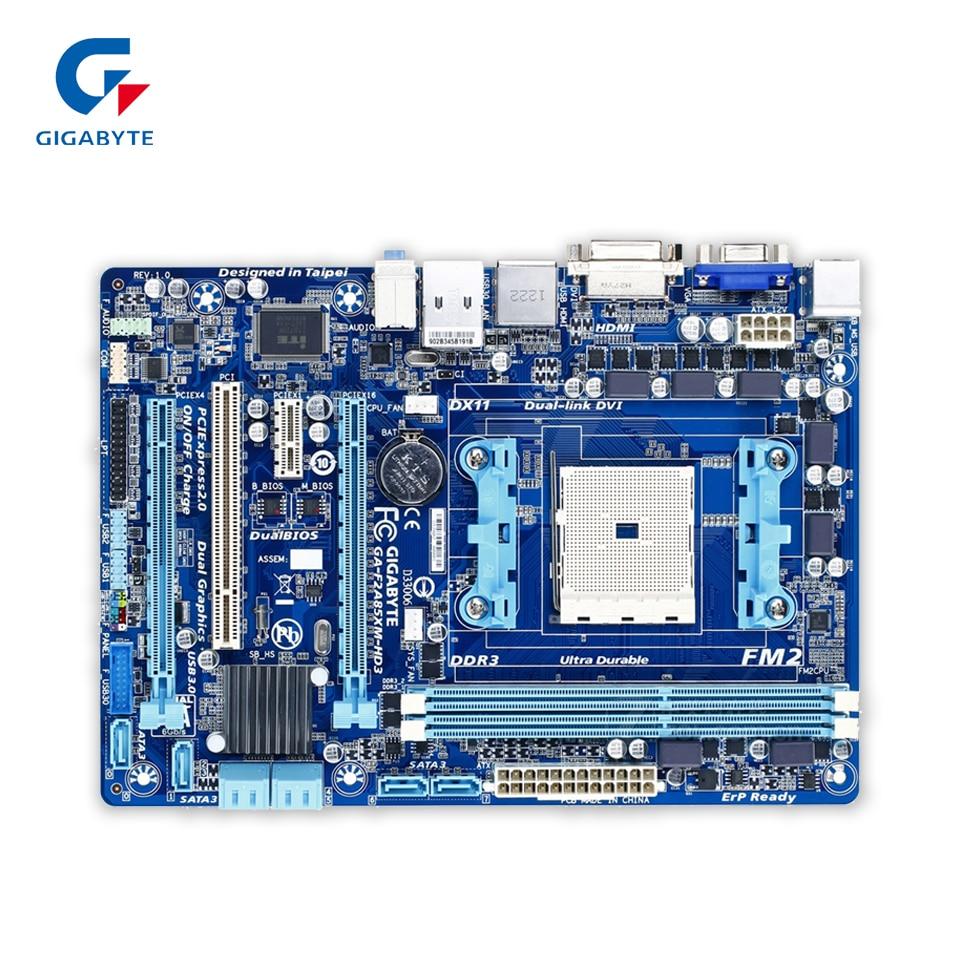 все цены на Gigabyte GA-F2A85XM-HD3 Original Used Desktop Motherboard F2A85XM-HD3 A85X Socket FM2 DDR3 SATA3 USB3.0 Micro ATX онлайн