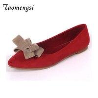 Taomengsi Damenschuhe Rot Farbe Das Neue fliege Wildleder Top Anti-skid Tipps schmetterling-knoten schöne und Bequeme Flache Schuhe